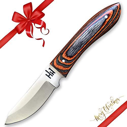hoja de 8 cm Cuchillo desollador con puño en madera roja contiene funda de cue