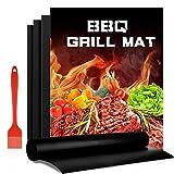 BBQ Grillmatten, 4er Set BBQ Antihaft Grill-und Backmatte Wiederverwendbar PFOA-Frei für Gasgrill, Holzkohlegrill & Elektrogrill, Fleisch, Fisch und Gemüse 50x40cm