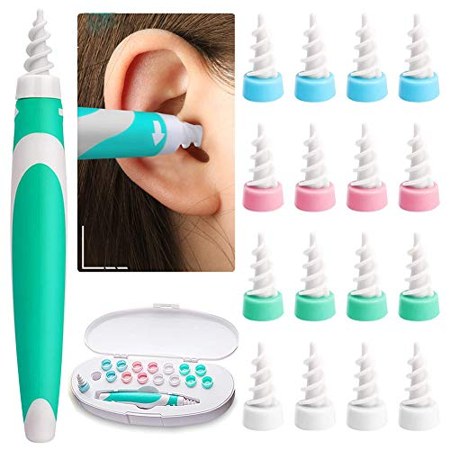 Ear Wax Remover, Earwax Remover Tool, Ear Wax Cleaner, Soft Silicone Spiral Earwax Remover Tool Kit, 16 Replacement Heads, q-tip Replacement