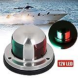 Luci di navigazione per barche LED marine 12v lampada di navigazione marina impermeabile Luci di prua per barche con LED rosso e verde per barche Pontoon Yacht Skeeter [Shell in acciaio inossidabile]