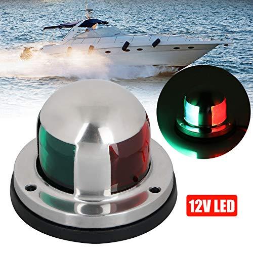 Linkstyle 12v Marine LED Boot Navigationslichter wasserdichte Marine Navigationslampe Marine Boot Bug Lichter mit roter und grüner LED für Bootsponton Yacht Skeeter [Edelstahlschale]
