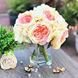 Enova Home Peony and Hydrangea Mixed Artificial Silk Flower Arrangement with Clear Glass Vase for Home Wedding Decoration (Champagne)