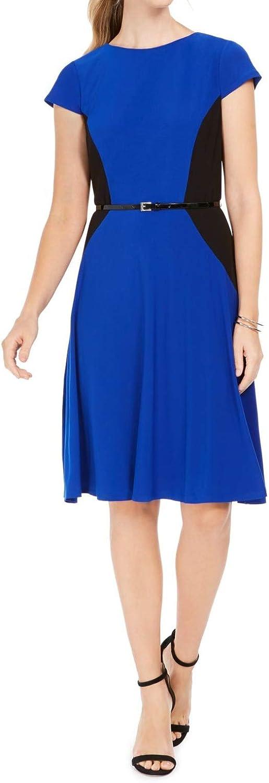 Jessica Howard Womens Crewneck Colorblock Midi Dress