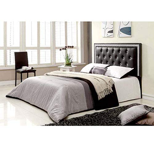 Best Master Furniture Hope Tufted Vinyl Upholstered Headboard, Queen/Full, Black