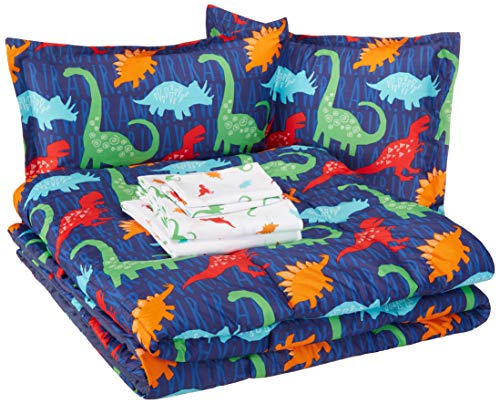 AmazonBasics Easy Care Super Soft Microfiber Kid's Bed-in-a-Bag Bedding Set - Full / Queen, Multi-Color Dinosaurs