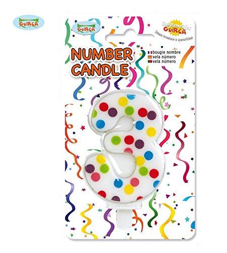 Guirca- Candela Numero 3' A Pois per Decorazione Torta, Multicolore, 6,5 cm, 32515