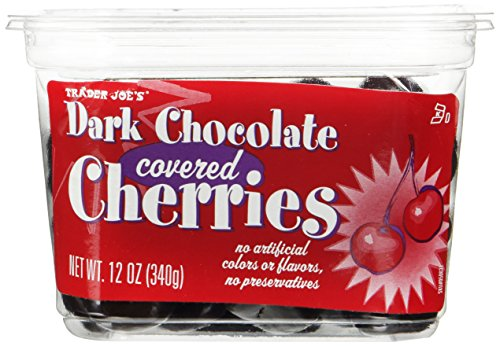 Trader Joes Dark Chocolate Covered Cherries No Artificial Colors or Flavors, No Preservatives ,12 OZ