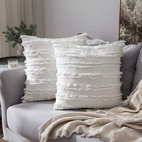 MIULEE 2er Set Dekorative Kissenbezug mit Tassel Fransen Dekokissen Boho Super Weich Kissenbezüge Quaste Decor Kissenhülle für Sofa Couch Schlafzimmer Wohnzimmer Auto 18X18inch 45x45cm Weiß