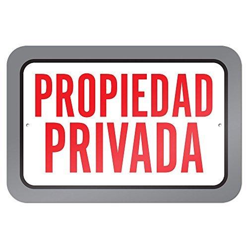 bienternary Propiedad Privada Propiedad privada Español 9 x 6 Señal de Aluminio Metal Signos Vintage Carretera Placas de hojalata Placa Decorativa