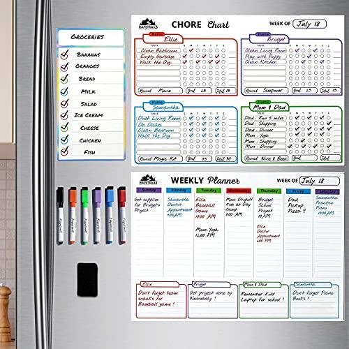"Magnetic Chore Chart and Weekly Planner Calendar Minimalist Design - Dry Erase Board Set - 17x12"" Each With Bonus List 10 X 5"", 6 Fine Tip Markers with Eraser Caps for Fridge, Used For Multiple Kids, Mom, Family, Home School, Teachers, Behavior, Rewards - Hapetrails"