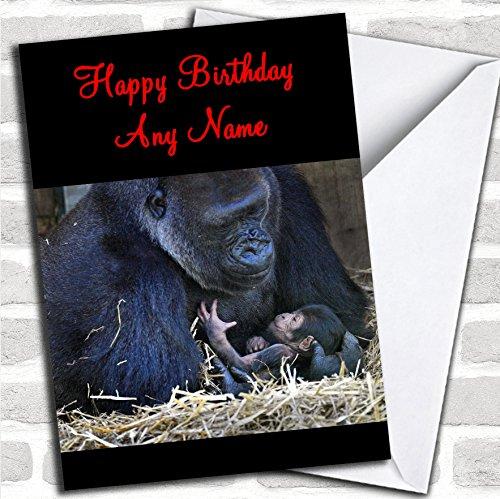 Gorilla knuffelende baby verjaardagskaart met envelop, kan volledig worden gepersonaliseerd, snel en gratis verzonden