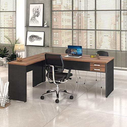 Mesa de Escritório em L 1,80x1,60m com 2 Gavetas Work30 Compace