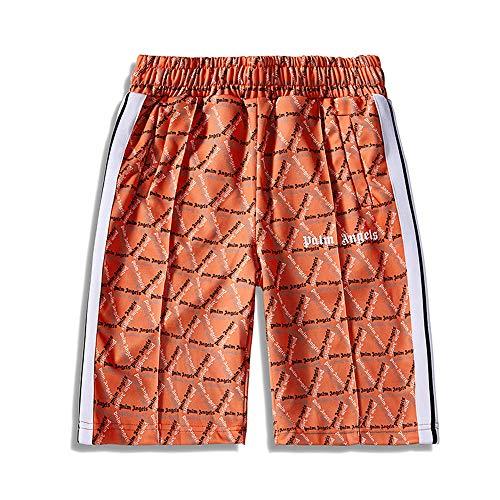 WTSXXN Frühling Sommer Klassisch Gestreift BeiläufigShorts Strandhosen Herren Damen Bermuda Kurze Hose SportKurze Hose,Orange,S