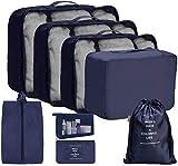 OrgaWise Organizador Maleta Set de 8, Bolsa Organizador para Ropa, Zapatos y Cosméticos, Resistente al Agua y Duradero, Ofrece Una Caja de Cepillo de Dientes