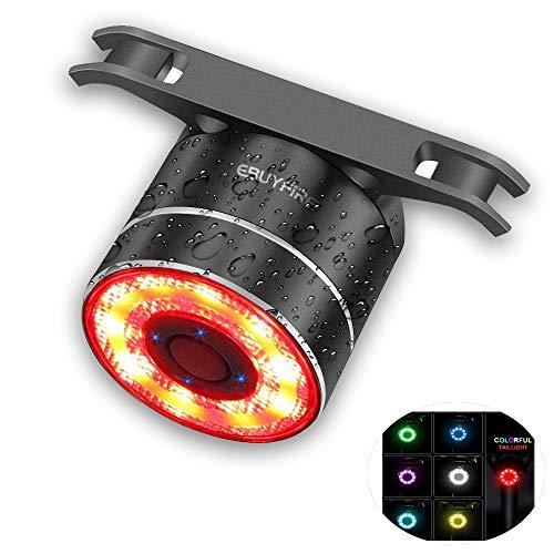 EBUYFIRE Luz Trasera de Bicicleta Inteligente Recargable USB, Super Brillante Rojo Luz LED Bici, Impermeable, Faro Trasero Bici para Máxima Seguridad de Ciclismo (Multicolor)
