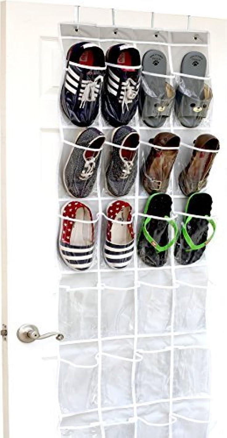 ボトルネックショッピングセンター微生物シンプルなHouseware 24?Lクリアポケットをドアのハンギング靴オーガナイザー、グレー