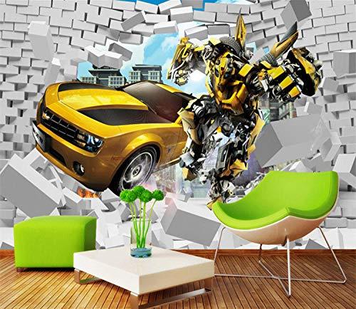 3D Retro Creative Car Broken Wand Tapete Fototapete Transformers Children Room Bedside Background Wand Dekorationation Car Exhibition Wandbilder 200 * 140Cm