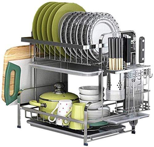 Conveniencia 304 Rejilla para Platos de Acero Inoxidable Rejilla para escurrir Platos para secar Palillos Platos Platos Suministros Caja de Almacenamiento Rejilla para Cocina Hogar Duradero