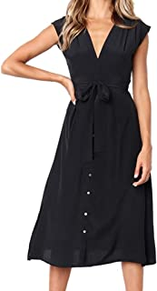 INIBUD Midi Dress for Women Summer French Style Retro Striped Button Down Tassels Bohemian V-Neck Swing A Line Boho Dress
