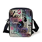 Old Newspaper Decor,Blues Music Genre Old Record Electric Guitars Kiss Inscriptions Grunge Decorative,Multicolor Print Kids Crossbody Messenger Bag Purse