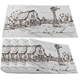 Moslion Farmhouse Placemats,Farm Sketch Farmstead Barn Farmyard Fence Windmill Ranch Meadow Cloudscape Trees Place Mats for Dining Table/Kitchen Table,Washable Outdoor Dinner Table Mats,Set of 4
