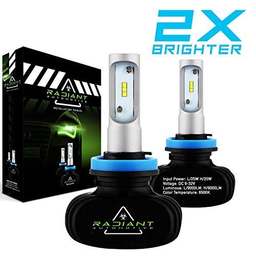 H11/H8/H9 Radiant Ultra Bright 9000LM High Low Cool White Light LED Kit Headlight Bulbs PAIR