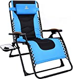 Lounge Chair, 350 lbs Support Zero Gravity Napping Patio Chair, Padded Adjustable Folding Lawn Chair, Outdoor Chair with Cup Holder and Headrest, for Garden and Porch, Blue