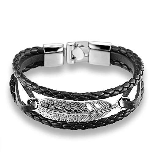 Armband Neuankömmling Feder Pfeil Armband Armreif Echtes Leder Handkettenschnalle Freundschaft Männer Frauen Anker Armband Hombre Federsilberschwarz