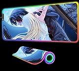 Ángeles La Muerte Anime Alfombrilla de Ratón GranJuegos RGB Alfombrilla GranOrdenador Luz Fondo Alfombrilla Teclado Alfombrilla Escritorio 35,43 Pulgadas X 15,74 Pulgadas