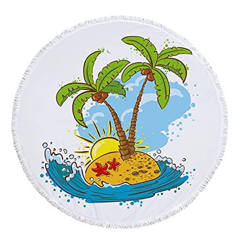 NHhuai Toallas de Microfibra – Conjunto de Toallas de Viaje Toalla Deportiva, Toalla de Playa y Toalla de Viaje Toalla de Playa Impresa Redonda Toalla de baño Cocotero