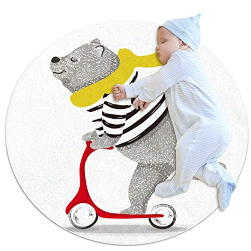 Yuzheng Scooter de Oso Redondo al Aire Libre Alfombras y moquetas Alfombrilla Antideslizante para bebé Silla para bebé Splat Circular Decorador de hogar Suave Alfombras 100x100cm