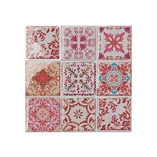 WALPLUS WT3D3015, Mosaico Rosso Rosa marocchina, Taglia Unica