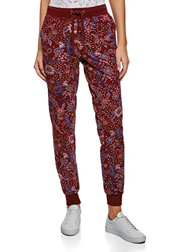 oodji Ultra Mujer Pantalones de Punto con Cordones, Rojo, ES 34 / XXS