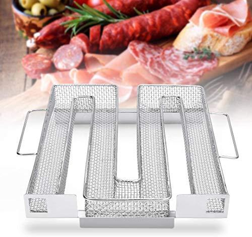 KAIGE Kaltraucherzeuger-Kaltrauchgenerator aus Edelstahl mit Griffen für Räuchern von Fleisch Fisch für Smoker Räucherofen Kugelgrill zum Kalträuchern 22,5 x 21,5 x 4,5 cm