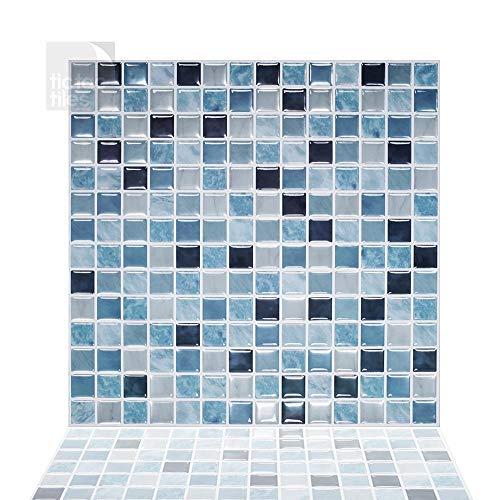 Tic TAC Azulejos de 12 x 12 Pulgadas, autoadhesivos, extraíbles, Adhesivos para Cocina, baño, Azulejos de Papel Pintado 3D en Forma de Brisa Marina Cuadrada