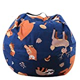<span class='highlight'><span class='highlight'>ALASON</span></span> Extra Large Stuffed Animals Bean Bag Chair Cover-100% Cotton Canvas Kids Toy Storage Zipper Bags Comfy Pouf for Unisex Boys Girls Toddlar,04,16 inch