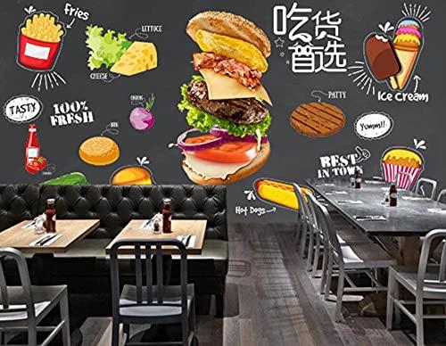 LZQMO Burgers Western Fast Food Hot Dog Restaurant Achtergrond Muurschildering Behang 3D Snack Bar Hamburger Kaas Muur…
