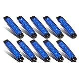 Partsam Thin Line 3.8' 6 LED Blue Side Led Trailer Marker Lights Sealed, Led Marker Lights Indicators for Trucks Bus Trailer RV Lorry Van UTV SUV HGV License Decoration Lights(10Pack)