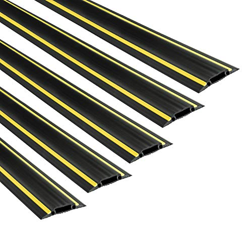 D-Line 6FT Linkable Floor Cord Cover/Cable Protector 5 Pack (30ft Total), Protect Cords and Prevent a Trip Hazard, 5 x 6ft Lengths, Cable Cavity 1.18in (W) x 0.39in (H) - Black & Yellow