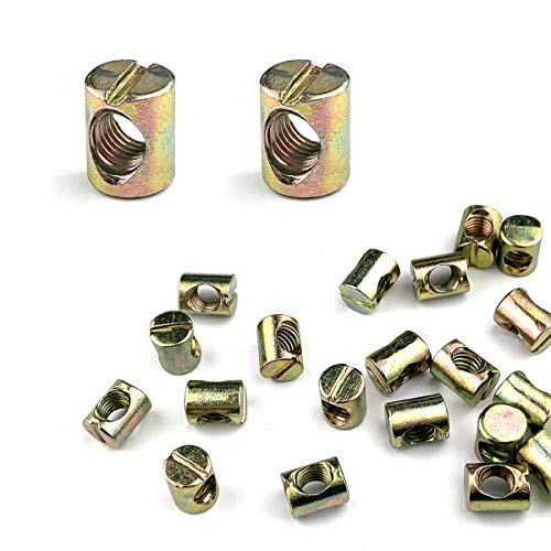 20 Pack M8 Barrel Nuts Cross Dowels Slotted Nuts for Furniture Beds Crib Chairs