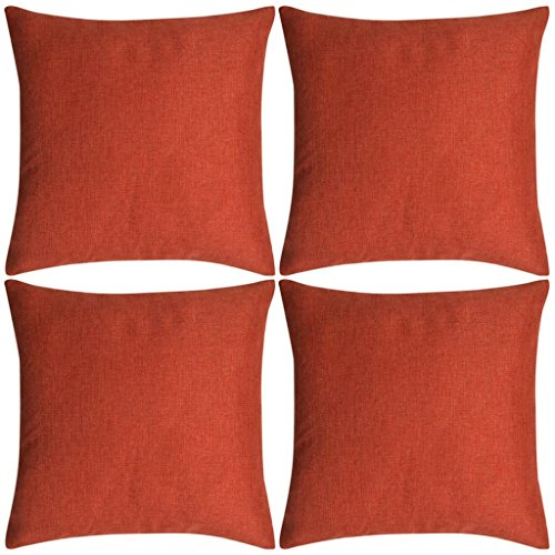 Geniet van winkelen met Kussenhoezen 4 stuks linnen look terracotta 40x40 cm