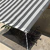 Rete per Tende da Sole A Effetto Serra 75-80%, Telo Ombreggiante A Blocchi UV con Gommini di Rinforzo per Piante da Giardino, Strisce Grigie + Bianche, 50 G/Min (Size : 3×6m)