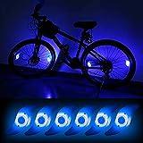 Teguangmei 6pcs LED Luz de Radios de Bicicleta,Luces de Neón a Prueba de Agua con 3 Modos de Parpadeo,Luces de Irradiación de Ruedas de Bicicleta Fáciles de Instalar Para Adultos y Niños,Azul