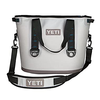 YETI Hopper 30 Portable Cooler, Fog Gray/Tahoe Blue , 16 x 22.6 x 12-Inch