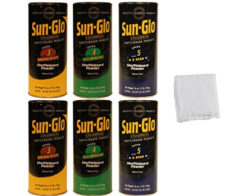 Affordable Table Shuffleboard Powder Wax Dust - Sun-Glo Medium Sampler Six-Pack + Talc for 14 - 18 F...