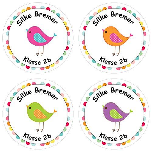 Papierdrachen 24 individuelle Aufkleber für Kinder - Motiv Vögelchen - personalisierte Sticker - Perfekt zur Einschulung - Geschenk für die Schule - Namensaufkleber und Schulbuchetiketten