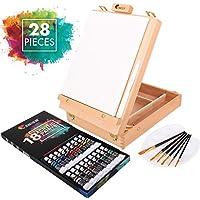 Set de Pintura con caballete, 18 Tubos de Pintura Acrílica, 6 pinceles para Pintar - Lienzo para pintar 24x30cm, Espátula y Paleta Gratis - Un regalo perfecto para Artistas de cualquier Nivel.