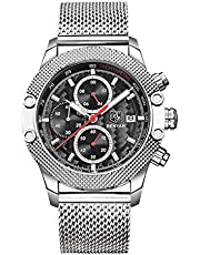 BENYAR オシャレ アナログ 腕時計 メンズ ステンレス ミラネーゼループ バンド 日付 ストップウォッチ (シルバー レッド)