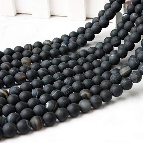 Gendaje Cuentas Sueltas de ágatas esmeriladas con Rayas Negras Naturales 4/6/8/10 / 12Mm DIY Accesorios de Collar de Pulsera para Hombres y Mujeres Dull Polish 10mm 38beads
