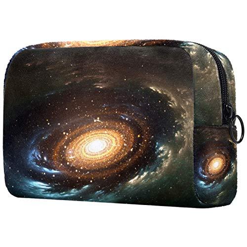 Schminktasche Travel Cosmetic Bag Pouch Geldbörse Handtasche mit Reißverschluss - Space Spiral Galaxy Stars